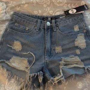 boohoo denim high waisted distressed blue shorts